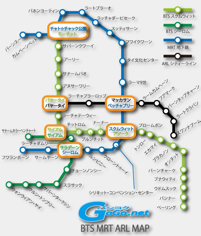 バンコクのBTS(高架鉄道スカイとレイン) MRT(地下鉄) ARL(エアポート リンク)の地図